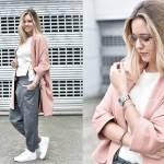 Le manteau rose en hiver