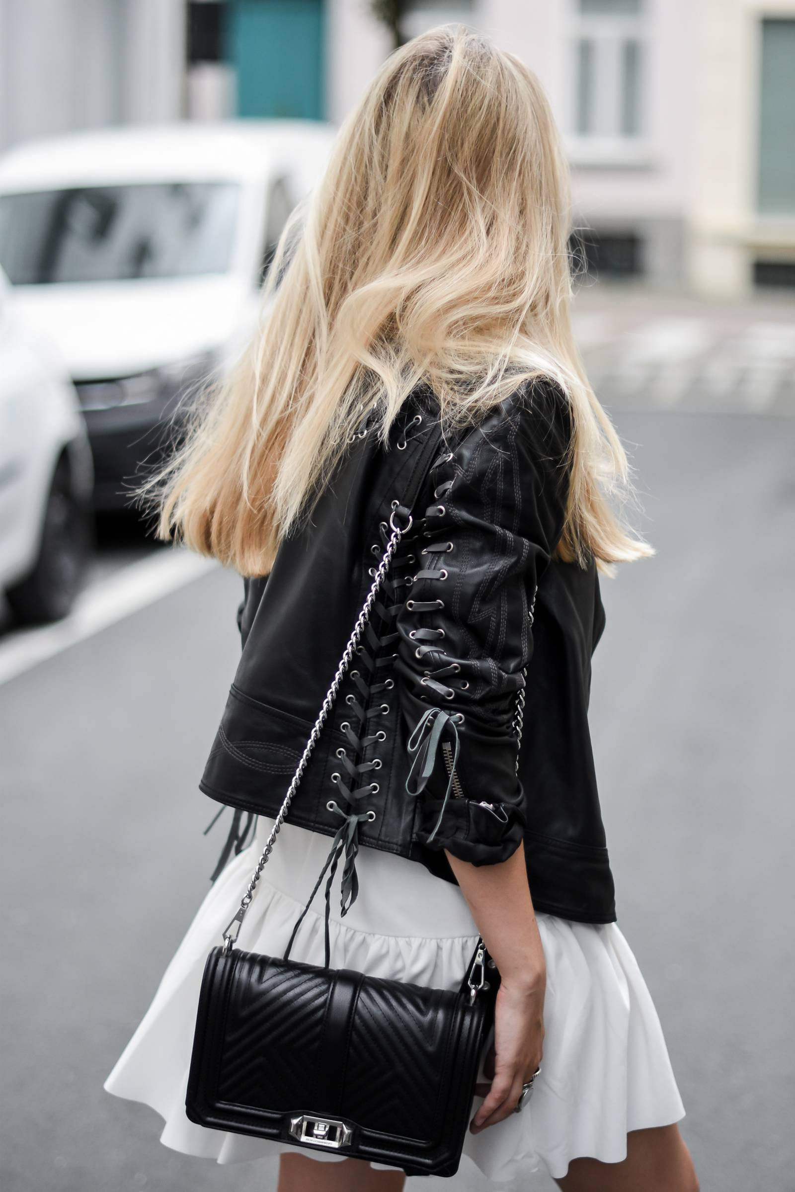 fashion blogger - leather jacket and white dress