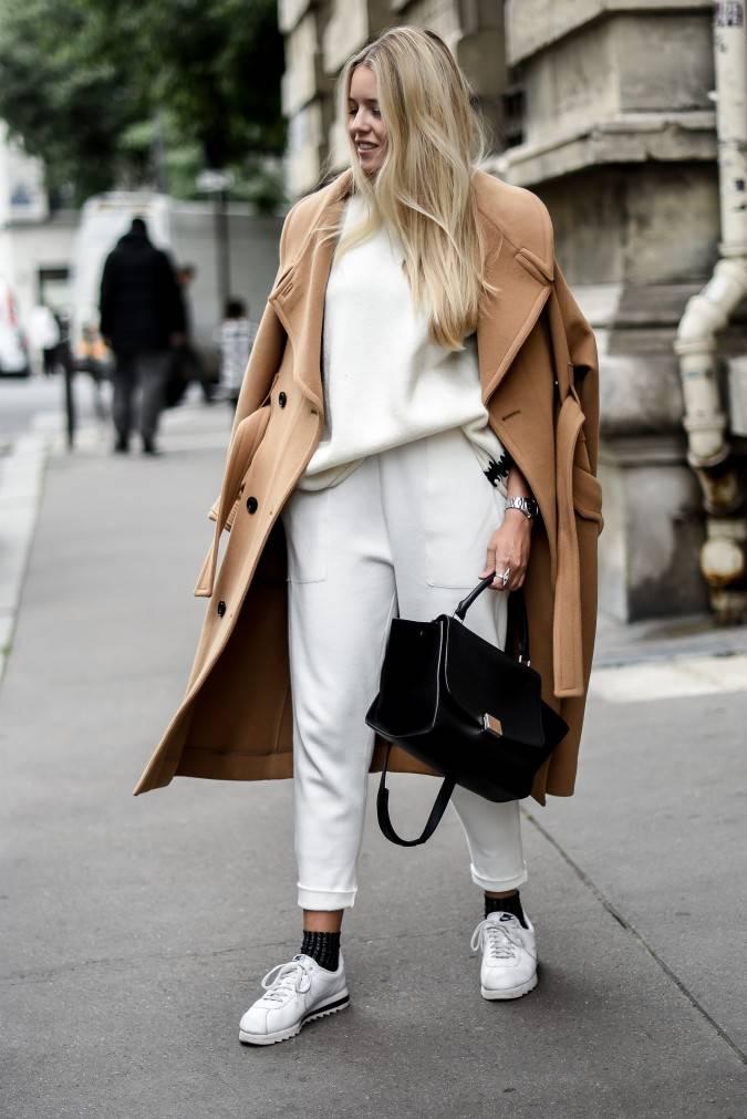 Manteau Mode Blog Camel Et Blanc Total Look ORqqwXZ