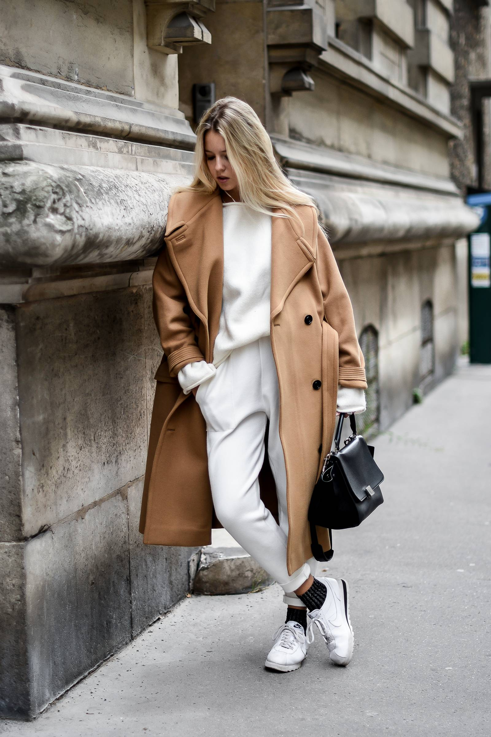 blog mode // total look blanc et manteau camel