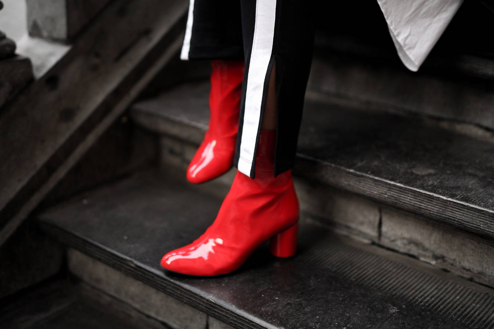 red vinyl boots