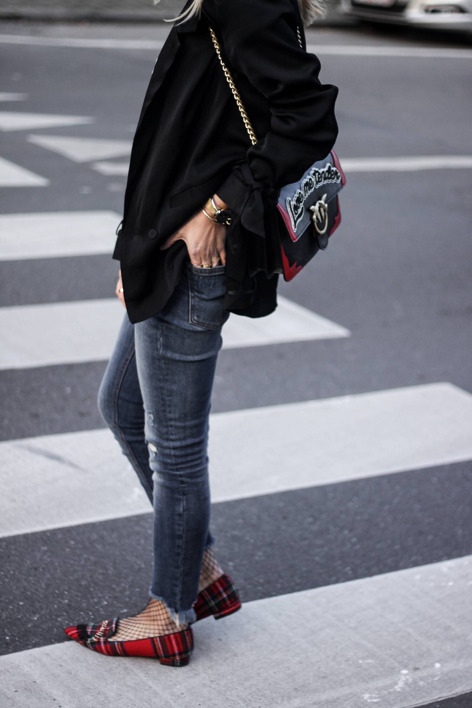 jeans and red loafers