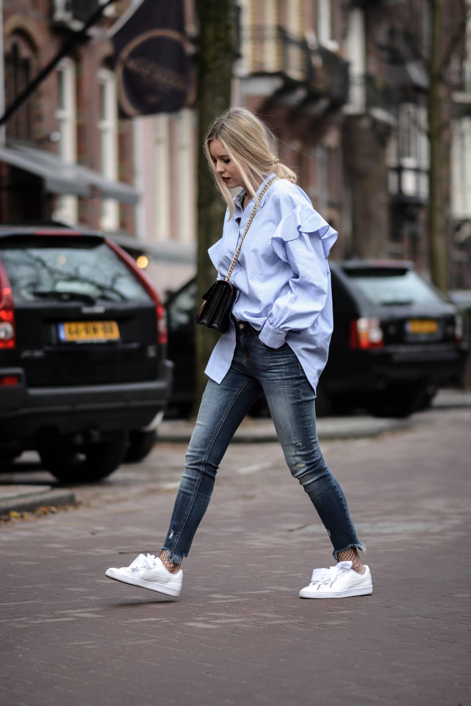Blue oversize shirt, Puma heart patent