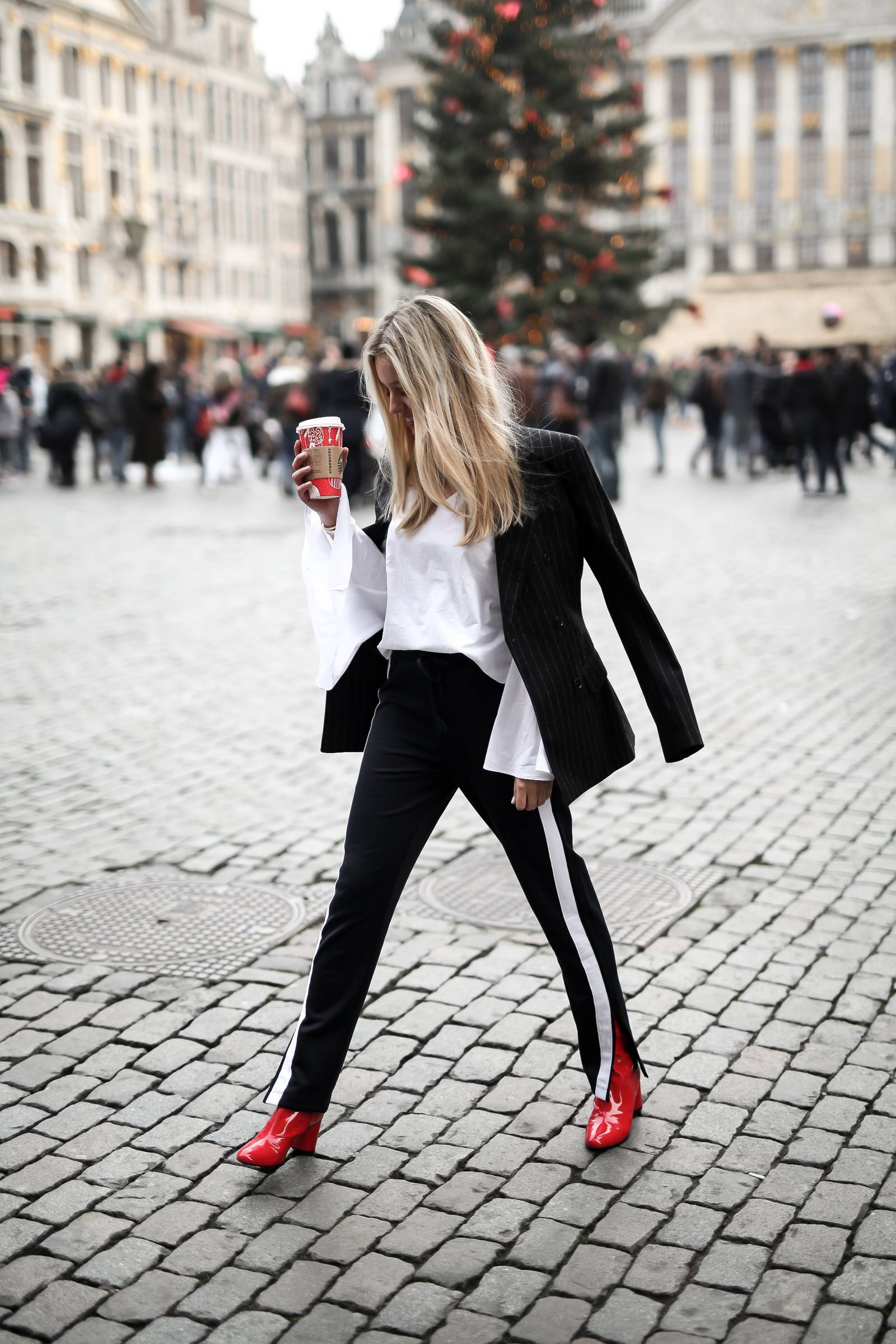 red vinyl booties