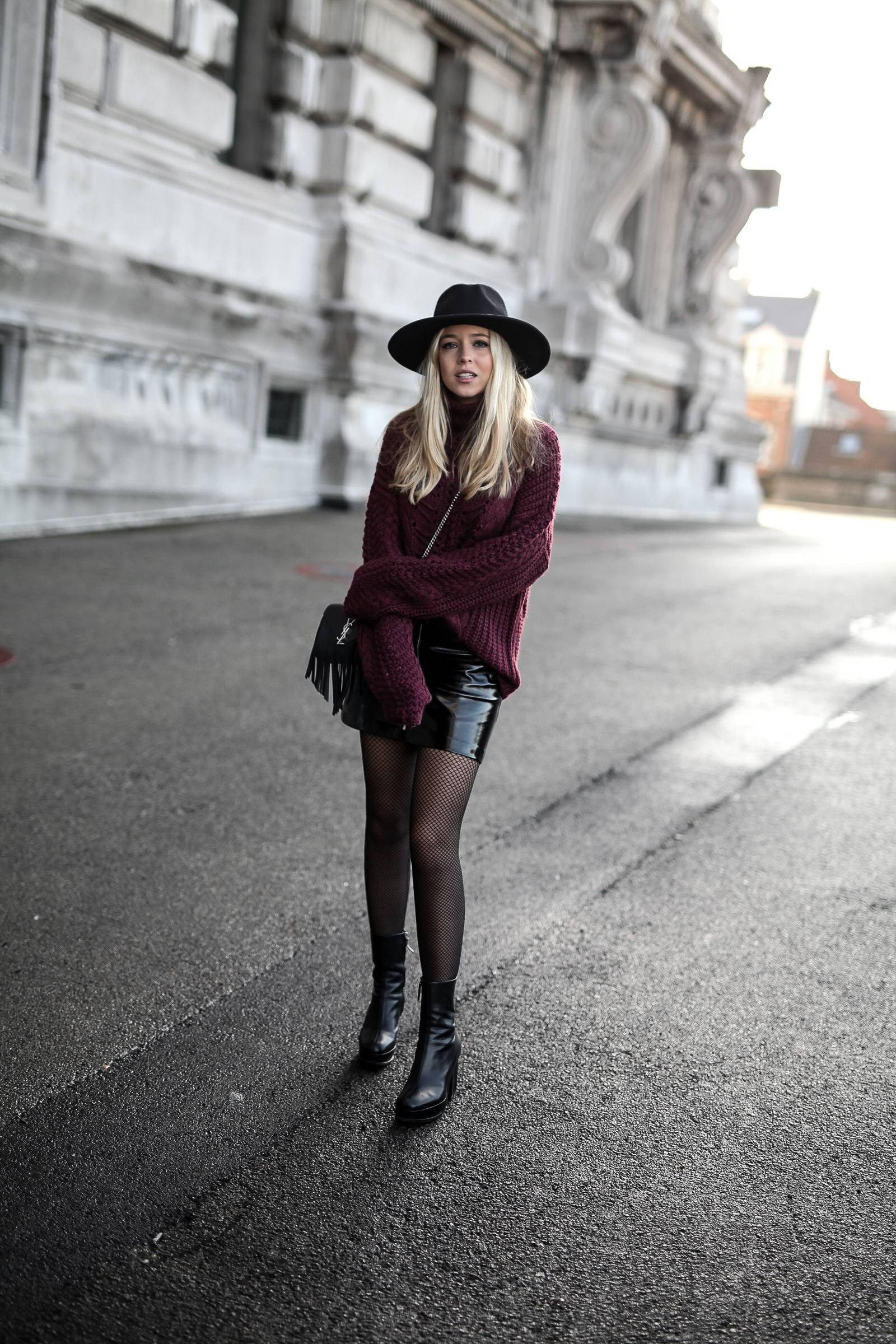 burgundy knit and vinyl skirt