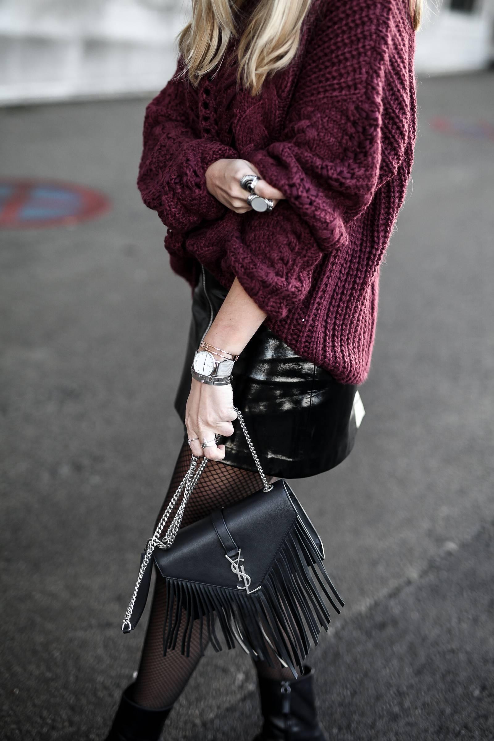 burgundy knit and vinyl skirt