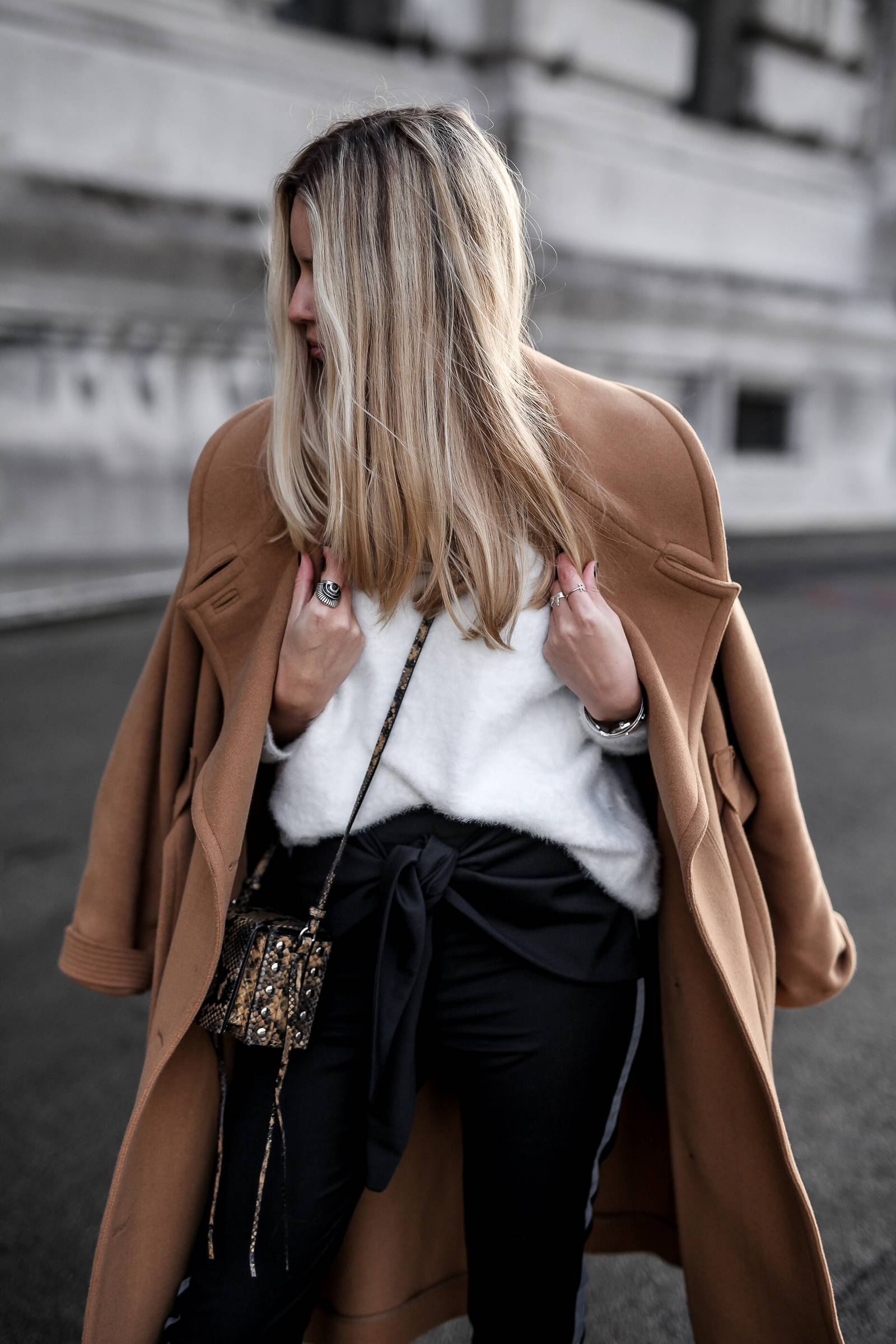 Camel coat and white knit