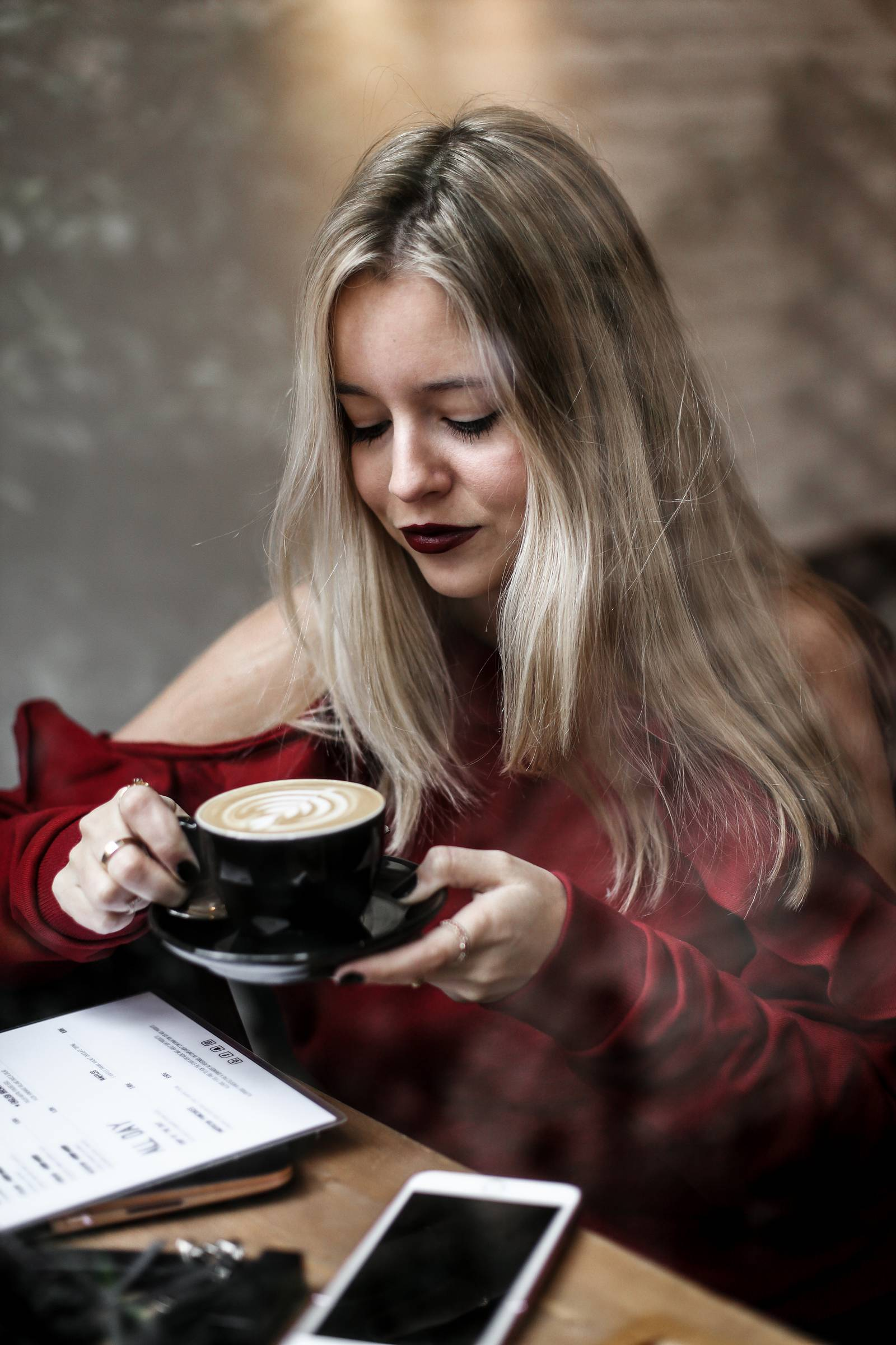 Blond girl, red sweater