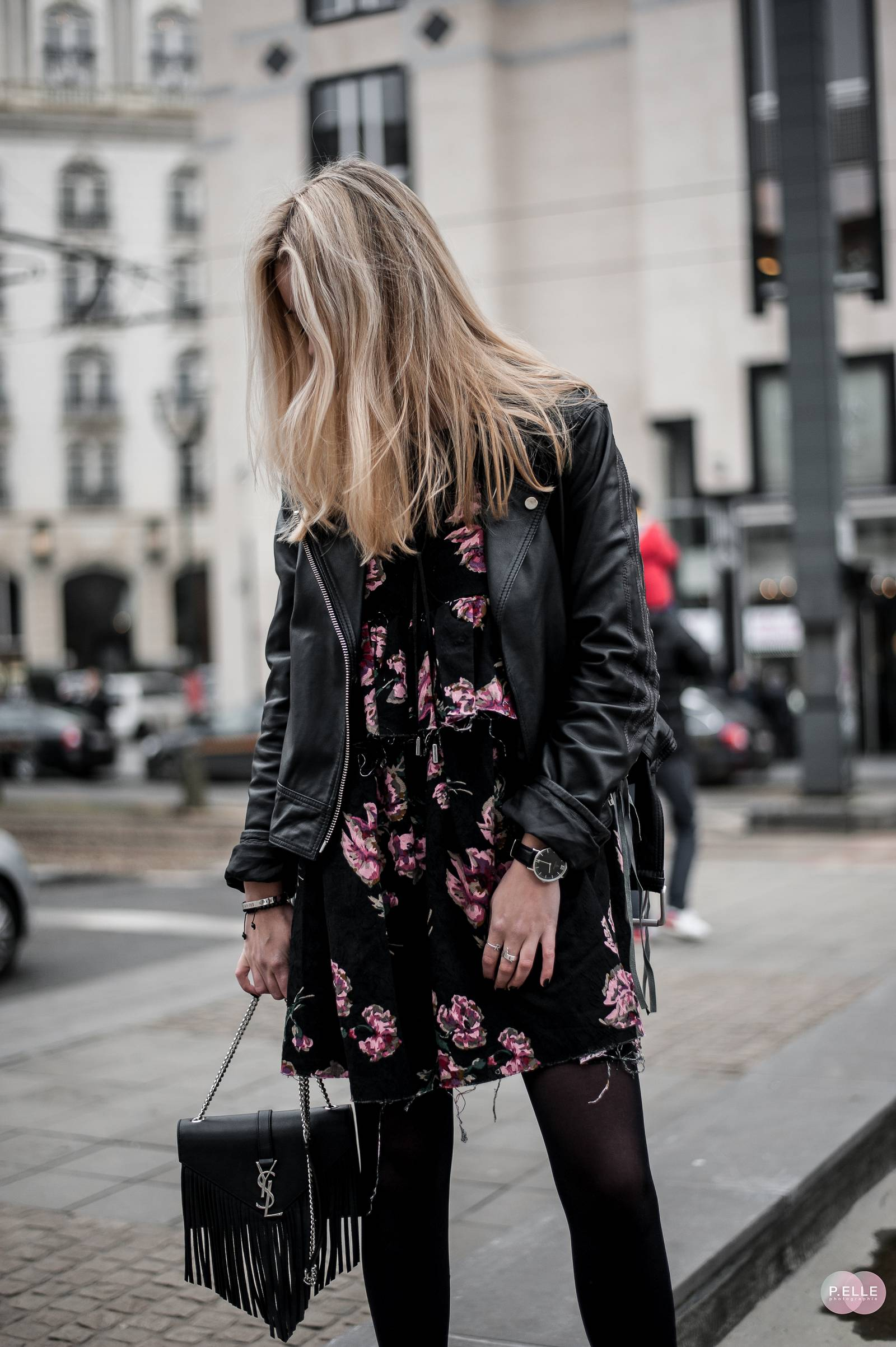 flower dress and leather jacket