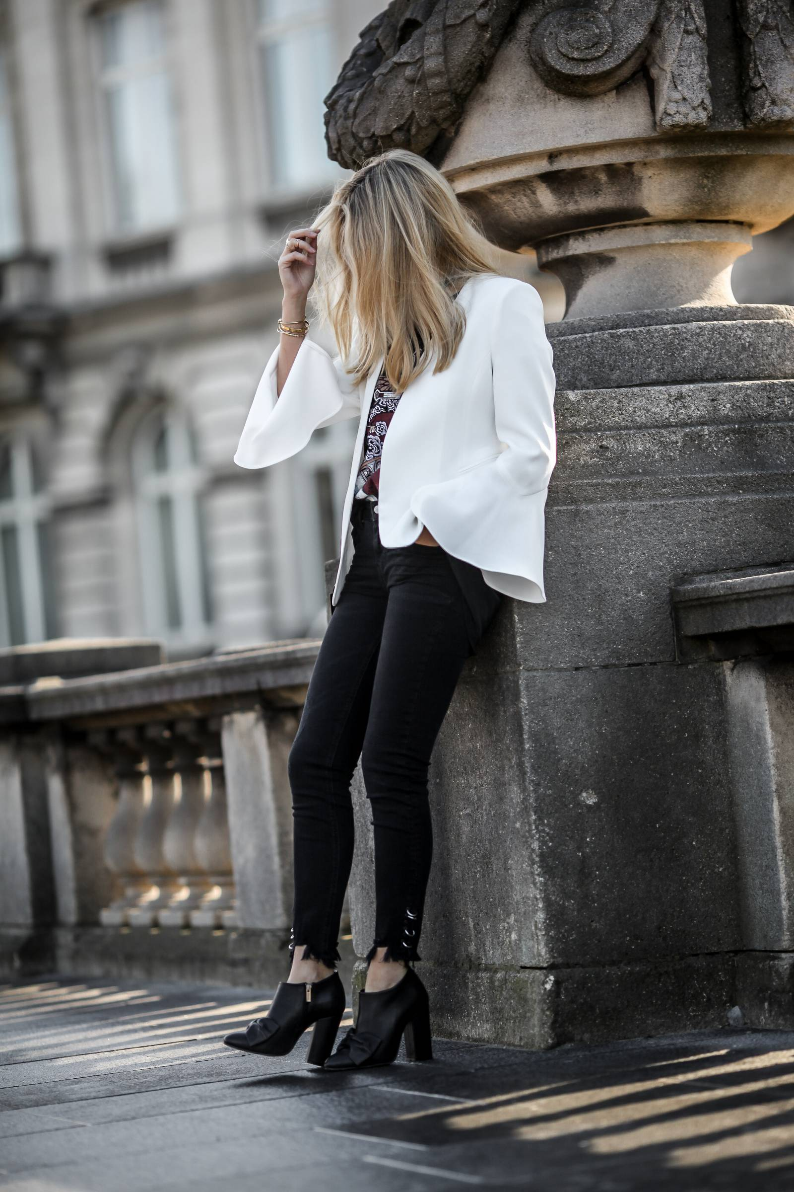White blazer and rock tee