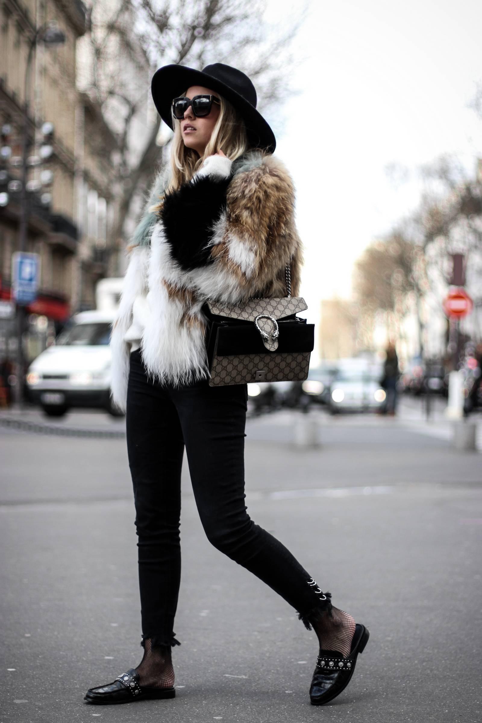 Faux fur coat and Dionysus Gucci bag