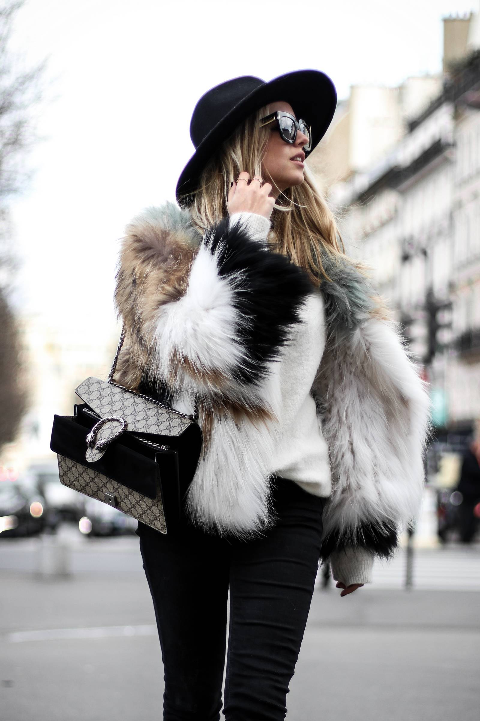Faux fur coat and Dionysus Gucci bag