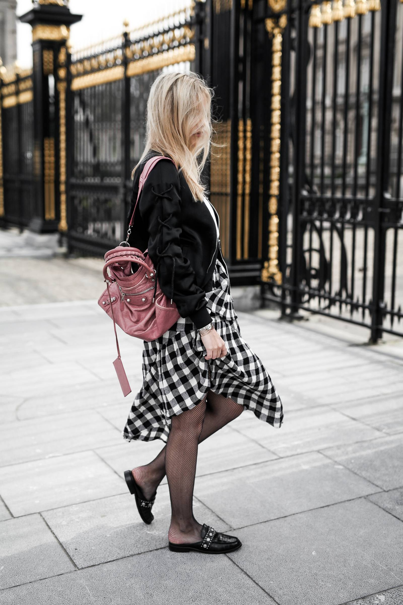 Vichy skirt and black bomber