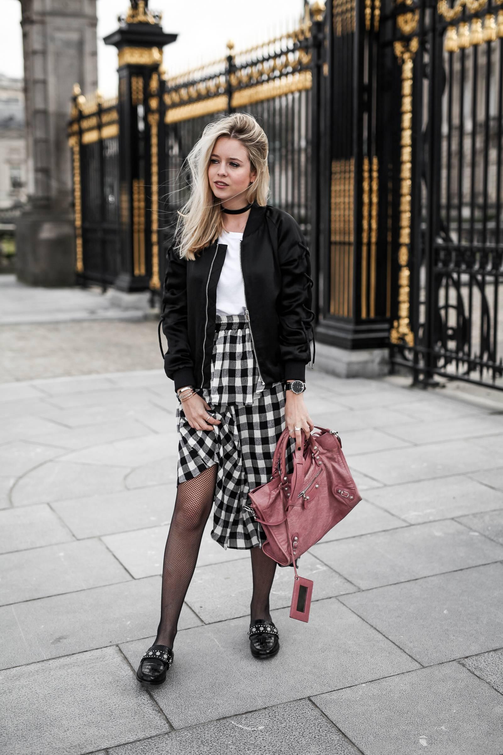 Vichy skirt and black bomber