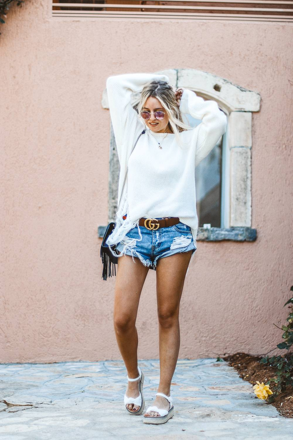 Shorts and white knit in Greece