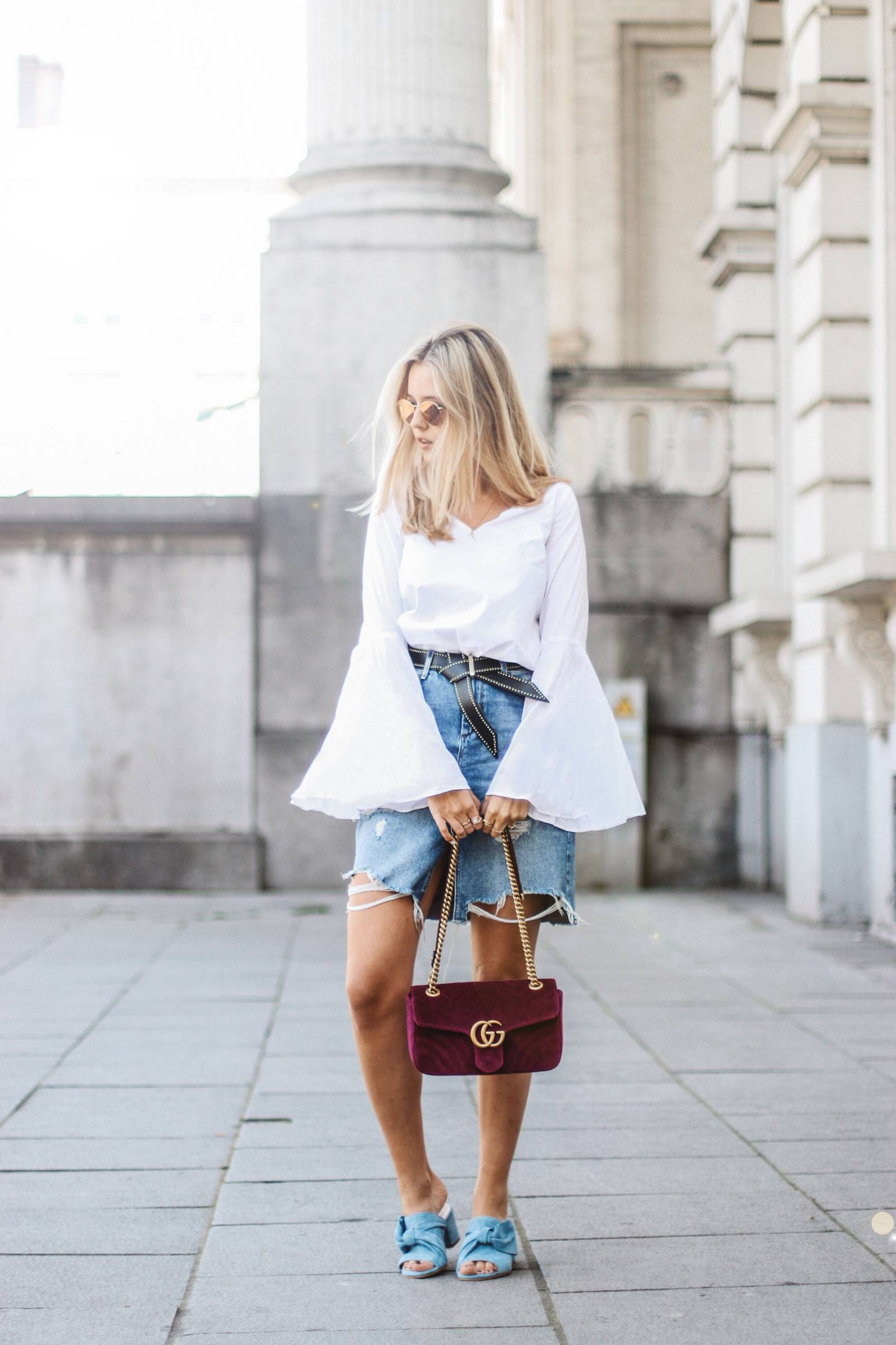 Gucci Marmont, blue sandals, denim skirt and  wide sleeves blouse