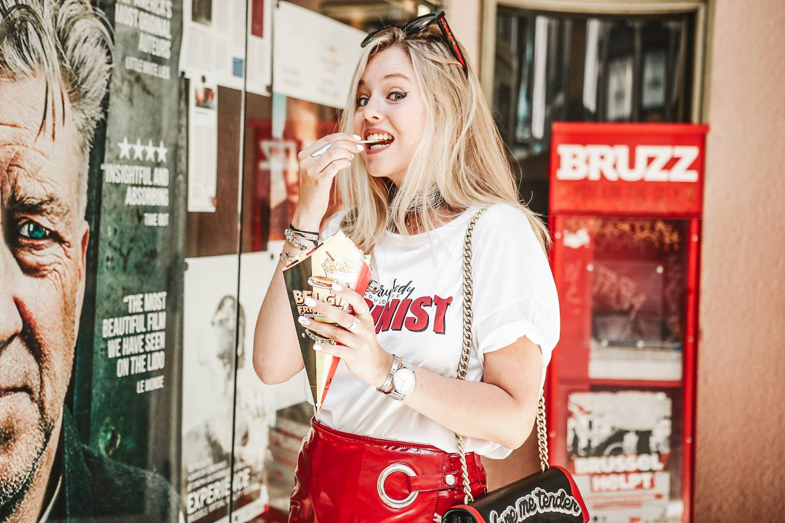 Red skirt and message tee outfit // fashion blogger
