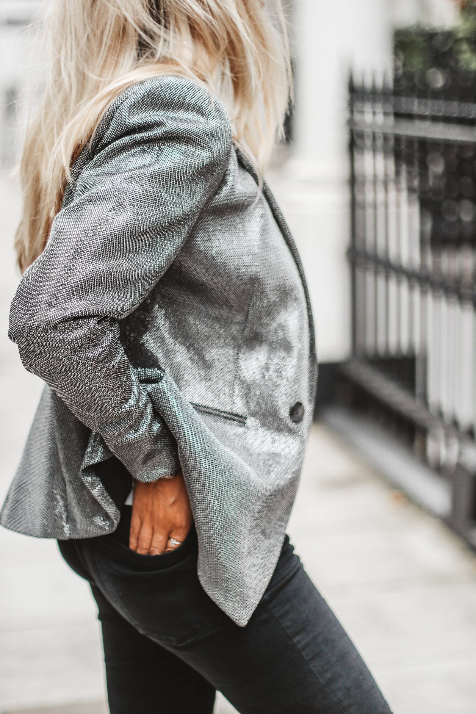 Silver jacket outfit