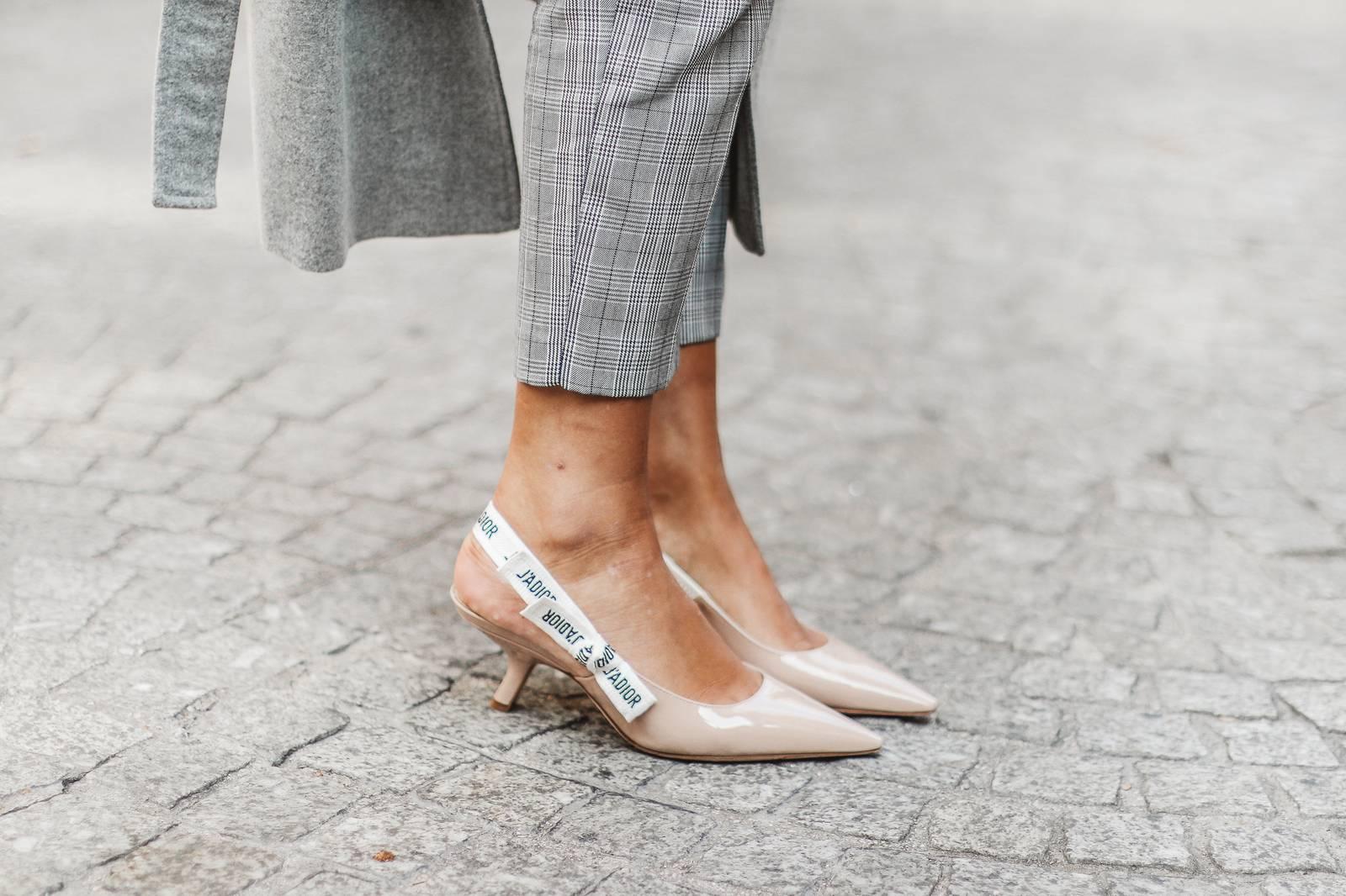 Pink blazer, Prince of Wales check pants and Dior heels
