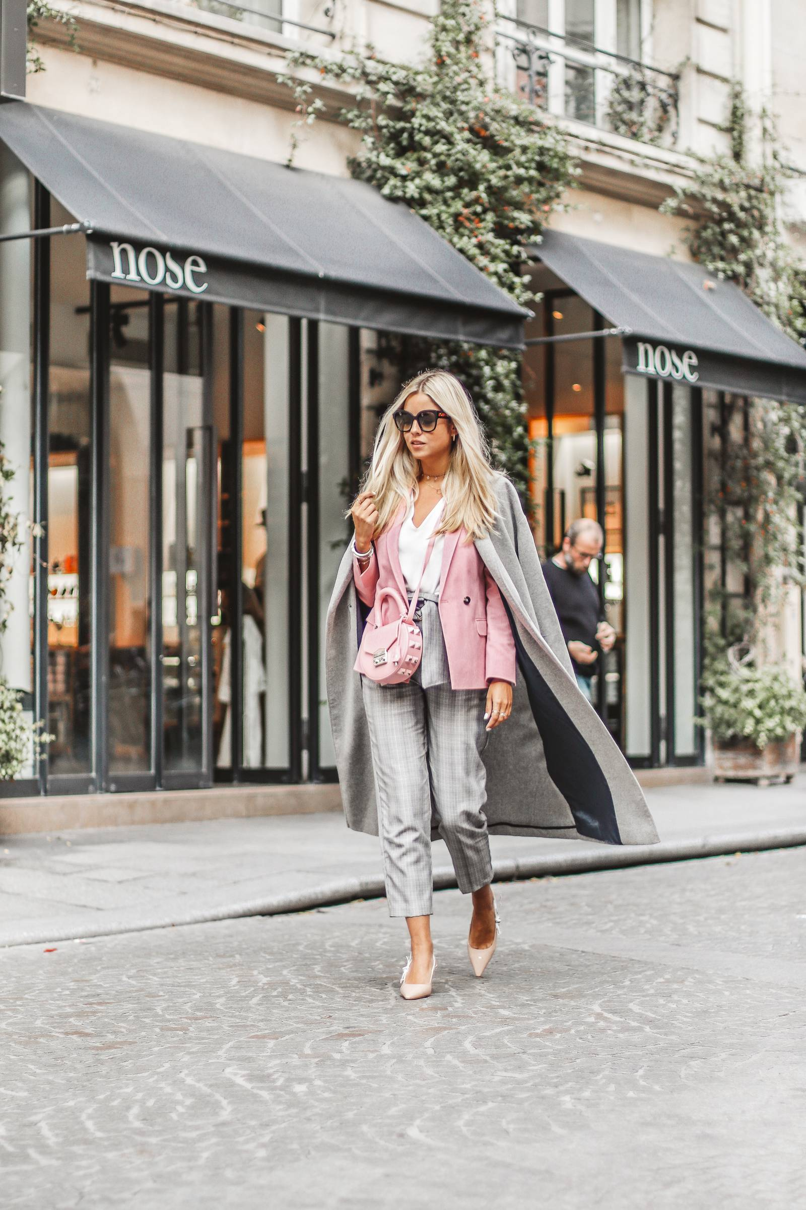 Pink blazer, Prince of Wales check pants and Dior heels
