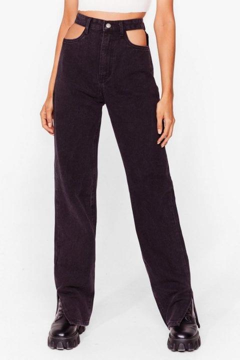 jeans noir avec trous taille Nasty Gal