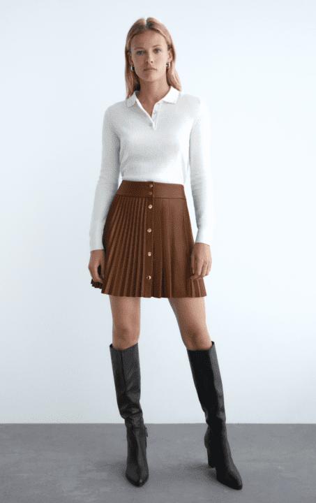 jupe plissée simili cuir zara
