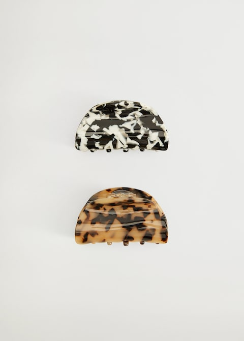Lot de deux pinces à cheveux noire et blanche/brune et noire écaillées Mango