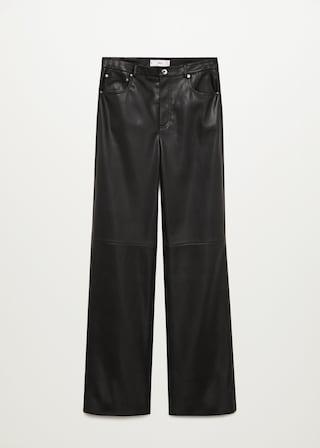 Pantalon en cuir noir Mango