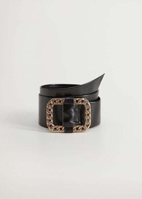 Ceinture noir en cuir avec boucle chaine Mango