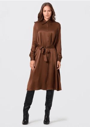 Robe chemise en soi brune Kocca
