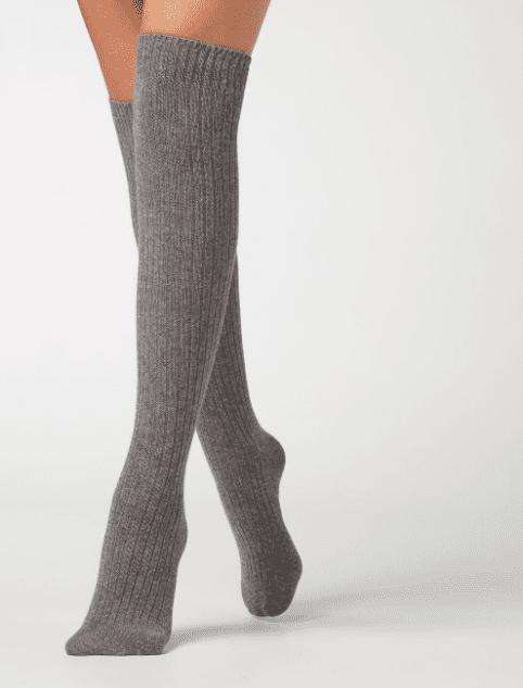 Chaussettes hautes grises en laine et cashmere Calzedonia