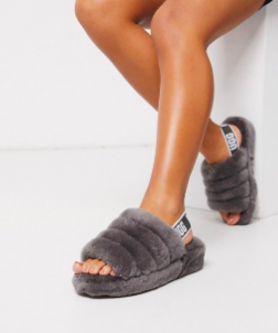 Chaussons duveteux à logo - Anthracite UGG