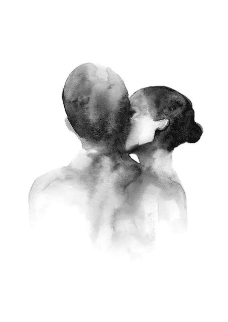 Poster watercolor kiss Desenio
