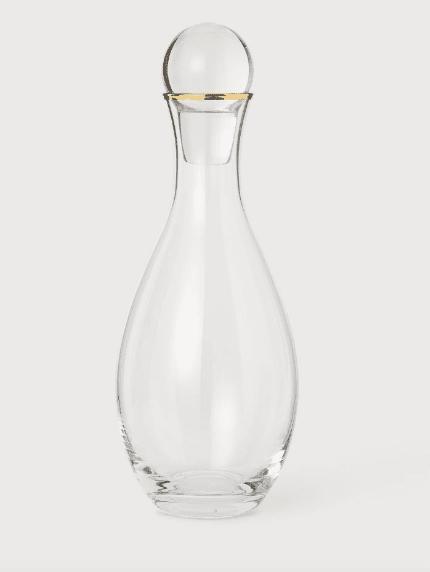 Carafe en verre tour doré H&M