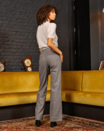 Pantalon lainé à carreaux - J. Van Miele
