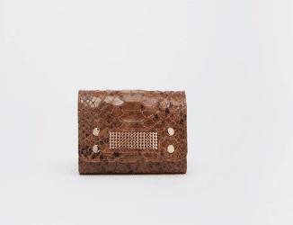 Porte-carte brun python - Clio Goldbrenner