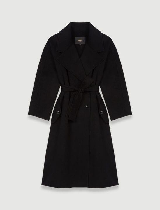 Manteau long noir Maje