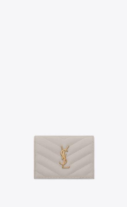 Porte carte en cuir en grain de poudre blanc vintage Saint Laurent