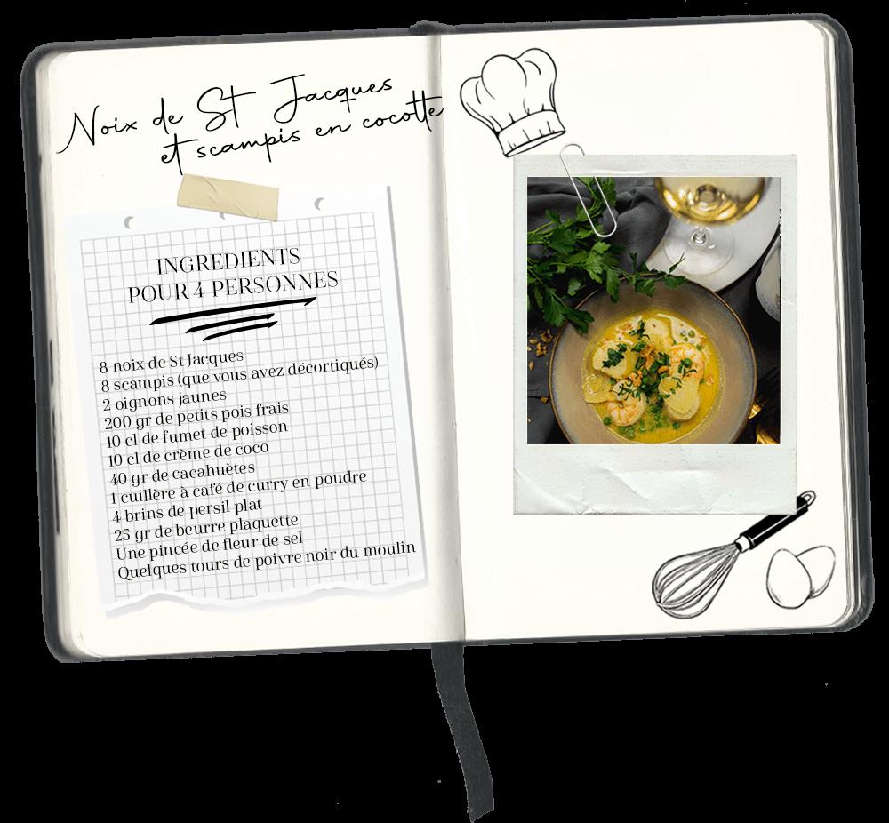recette noix de saint Jacques et scampis cocotte