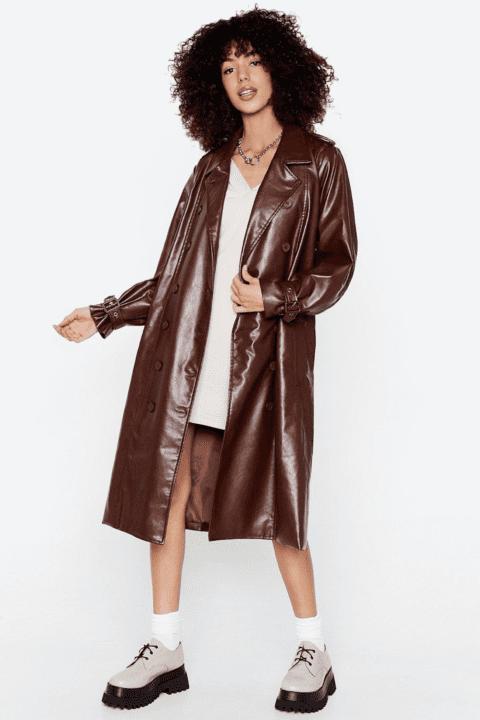 manteau simili cuir brun