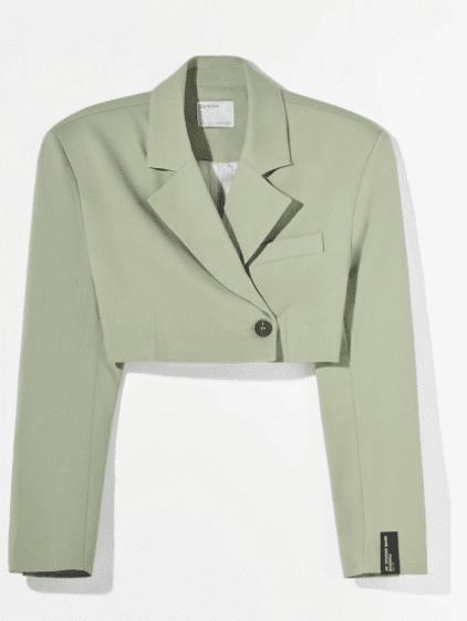 Crop blazer vert Bershka