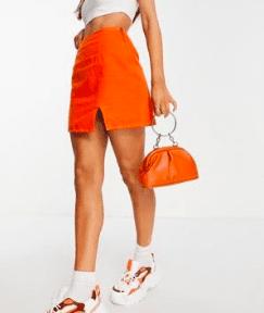 Jupe mini fendu orange Asos