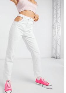 Jeans cut out blanc bershka asos