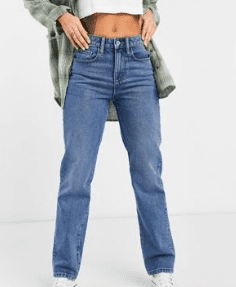 Jeans bleu taillon basse collusion asos