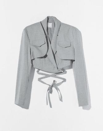 Crop blazer gris laniere Bershka asos