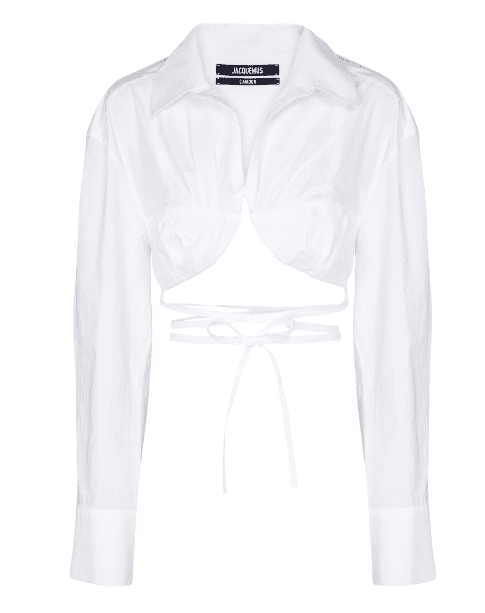 Chemise laniere blanche under boobs Jacquemus luxe