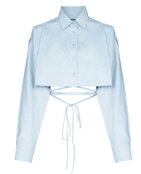 Chemise crop laniere bleu pastel We11done luxe