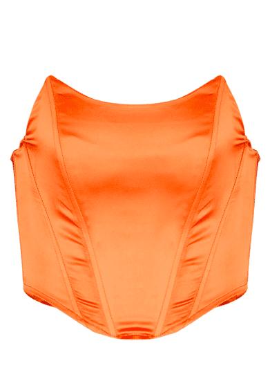 Bustier corset orange satin PLT