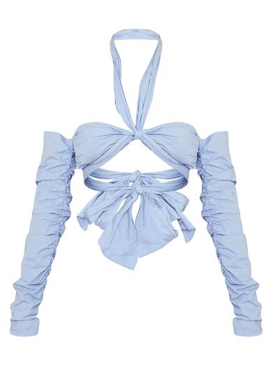 Crop top épaules dénudés bleu pastel PLT