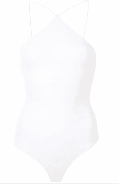 Body blanc asymetrique devant LUXE Alix NYC
